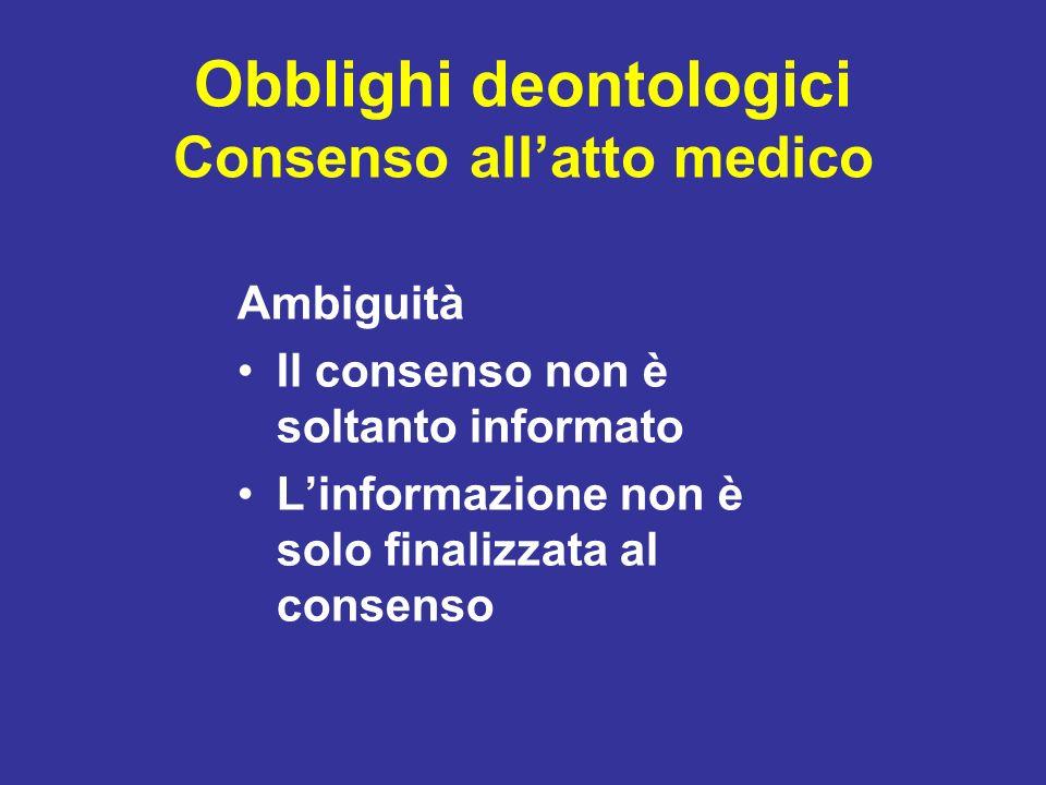 Obblighi deontologici Consenso all'atto medico