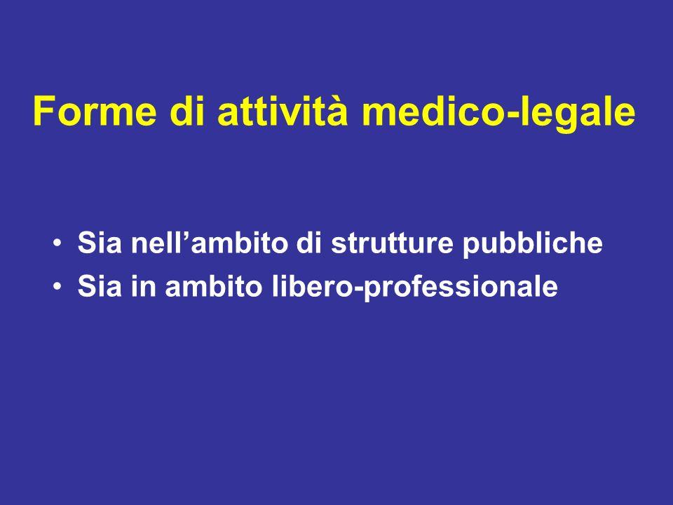 Forme di attività medico-legale