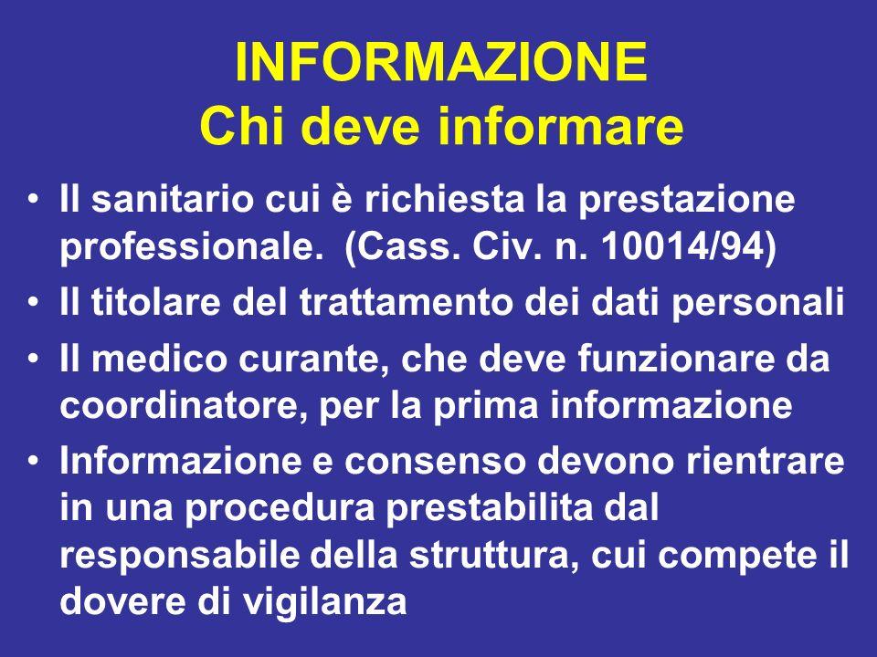 INFORMAZIONE Chi deve informare