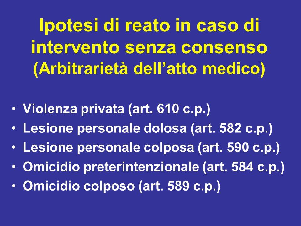 Ipotesi di reato in caso di intervento senza consenso (Arbitrarietà dell'atto medico)