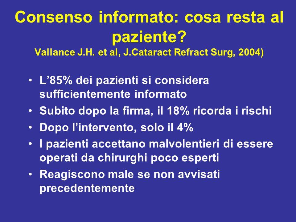 Consenso informato: cosa resta al paziente. Vallance J. H. et al, J
