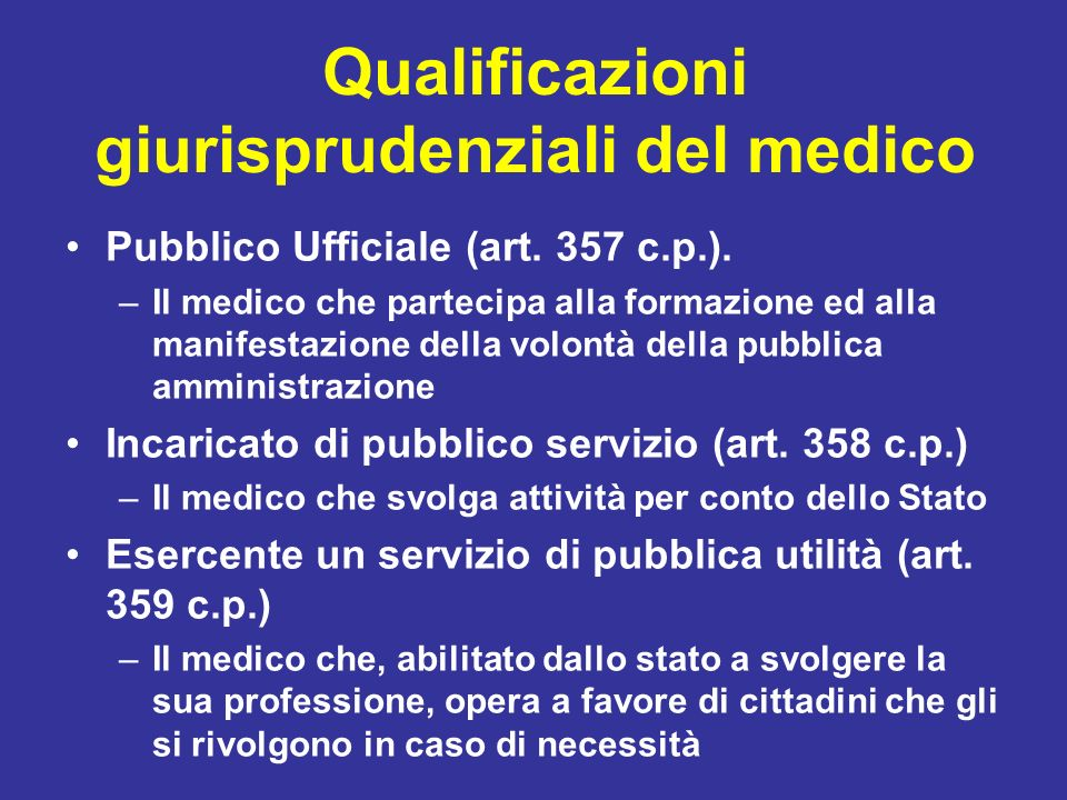 Qualificazioni giurisprudenziali del medico