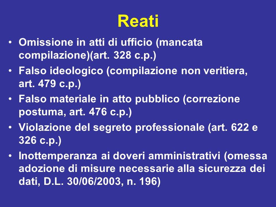 Reati Omissione in atti di ufficio (mancata compilazione)(art. 328 c.p.) Falso ideologico (compilazione non veritiera, art. 479 c.p.)