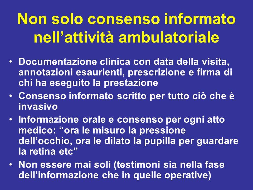 Non solo consenso informato nell'attività ambulatoriale
