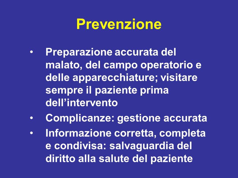 Prevenzione Preparazione accurata del malato, del campo operatorio e delle apparecchiature; visitare sempre il paziente prima dell'intervento.
