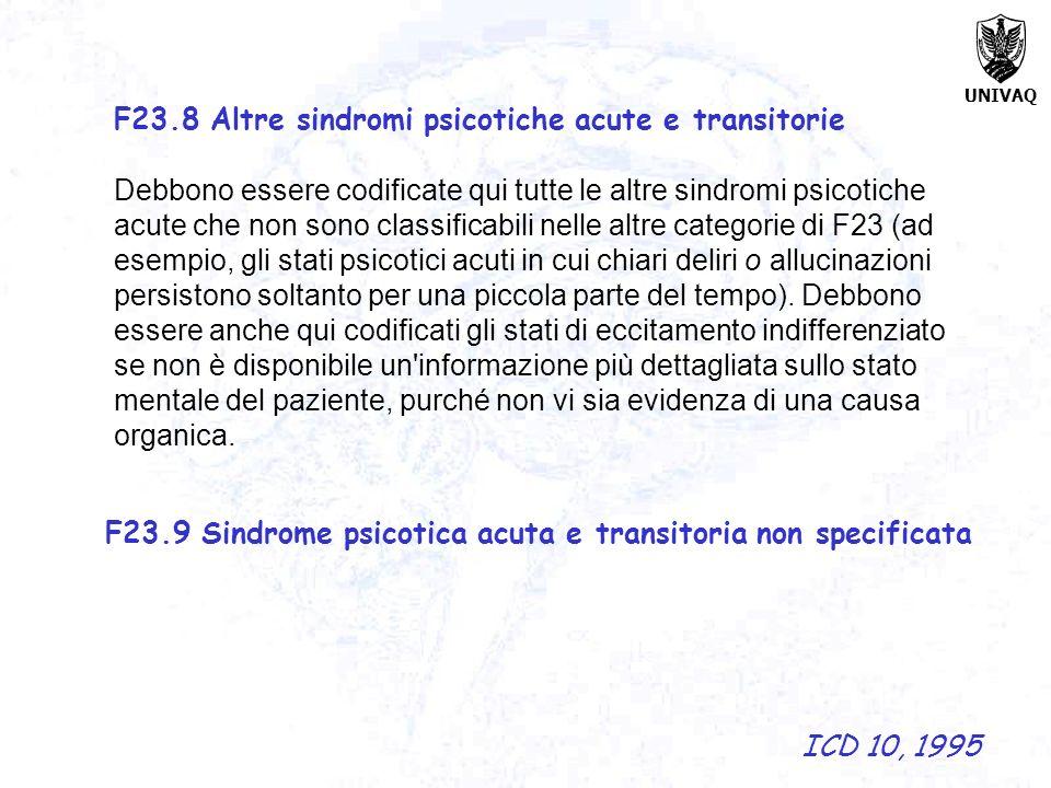 F23.8 Altre sindromi psicotiche acute e transitorie