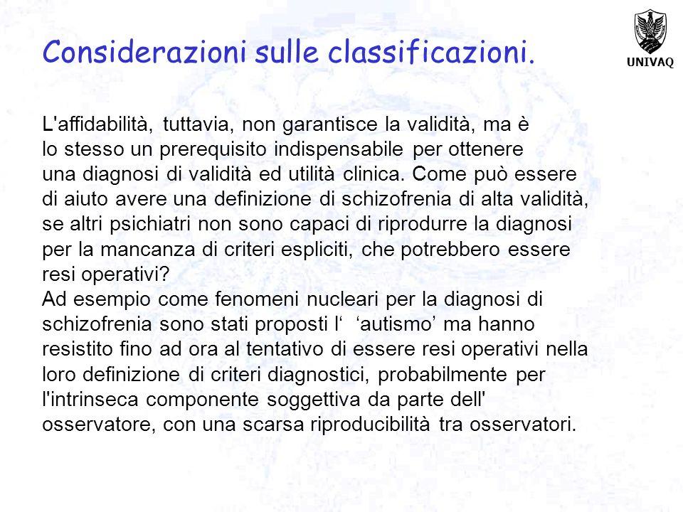 Considerazioni sulle classificazioni.