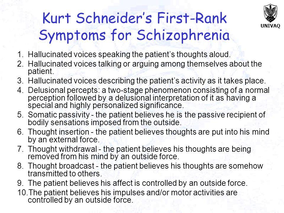 Kurt Schneider's First-Rank Symptoms for Schizophrenia