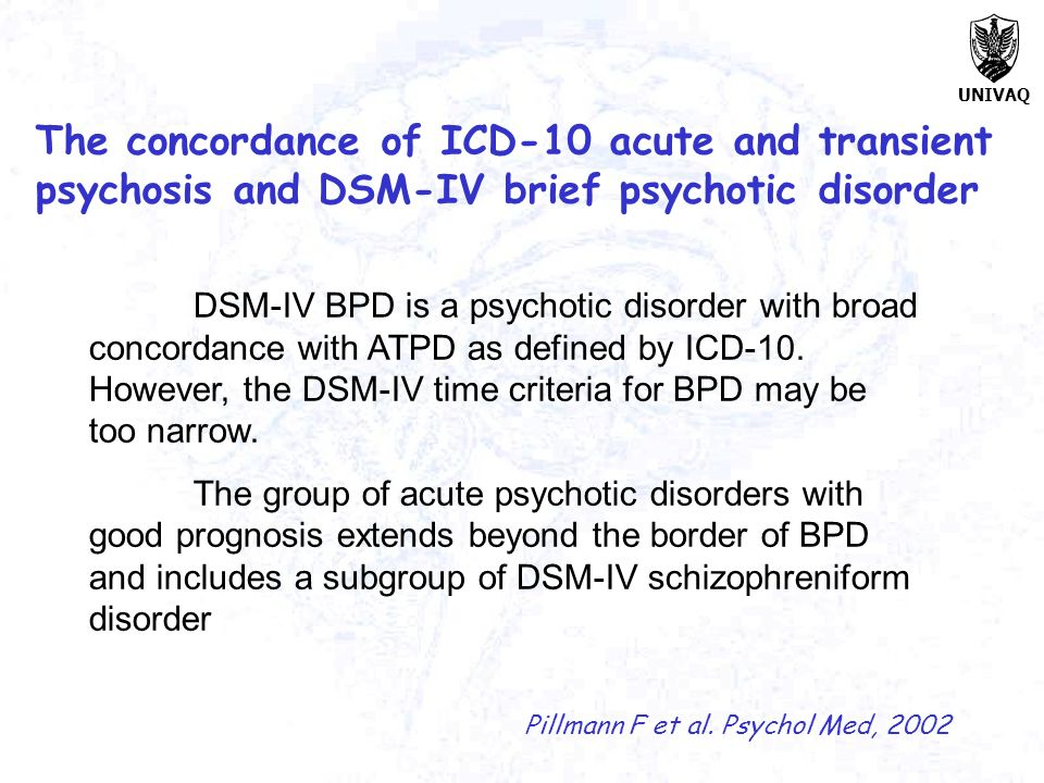 The concordance of ICD-10 acute and transient psychosis and DSM-IV brief psychotic disorder