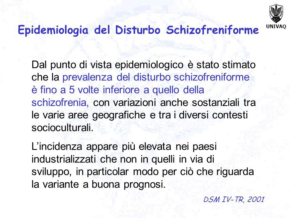 Epidemiologia del Disturbo Schizofreniforme