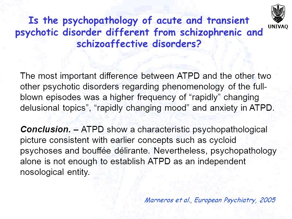 Is the psychopathology of acute and transient psychotic disorder different from schizophrenic and schizoaffective disorders