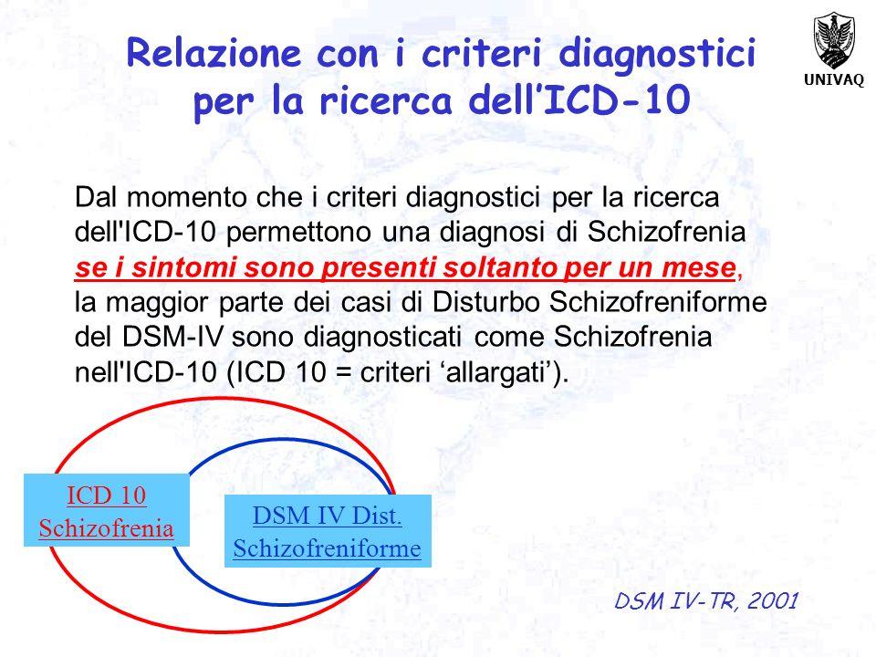 Relazione con i criteri diagnostici per la ricerca dell'ICD-10