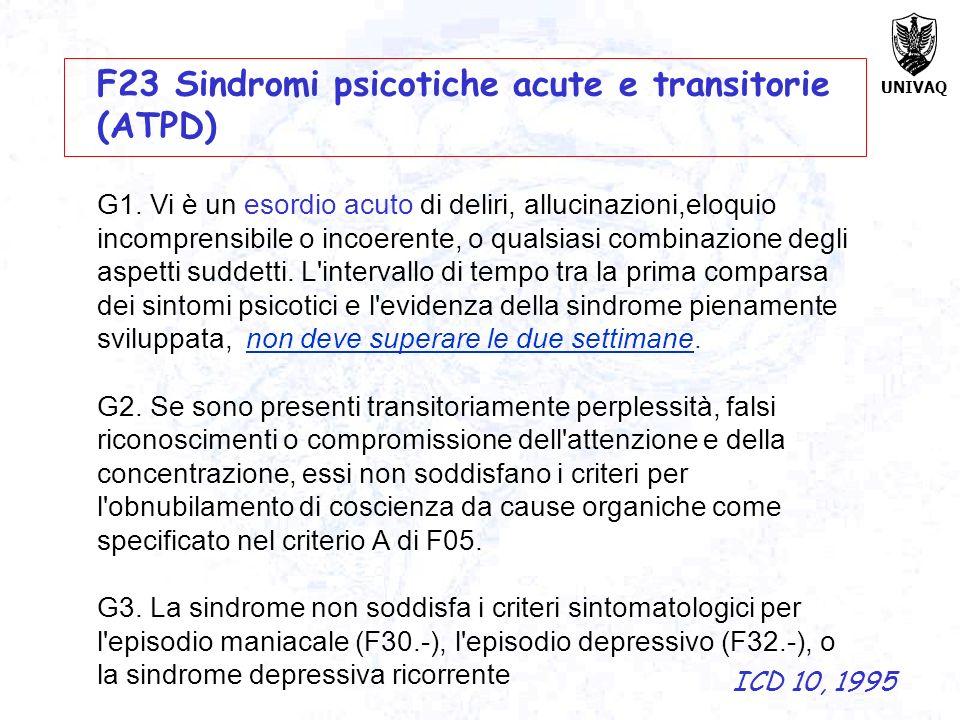 F23 Sindromi psicotiche acute e transitorie (ATPD)