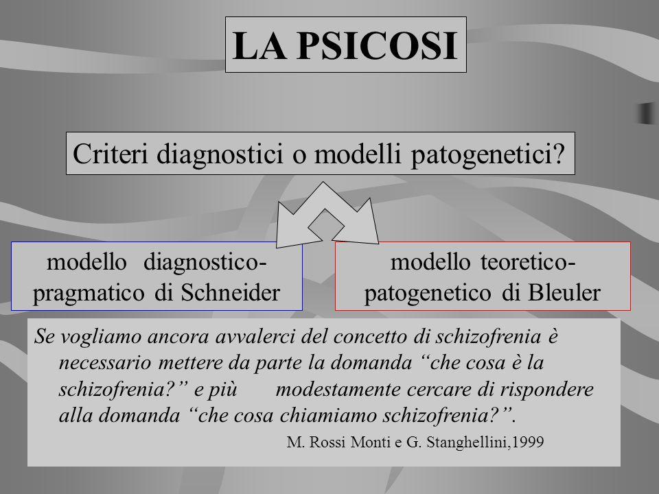 LA PSICOSI Criteri diagnostici o modelli patogenetici