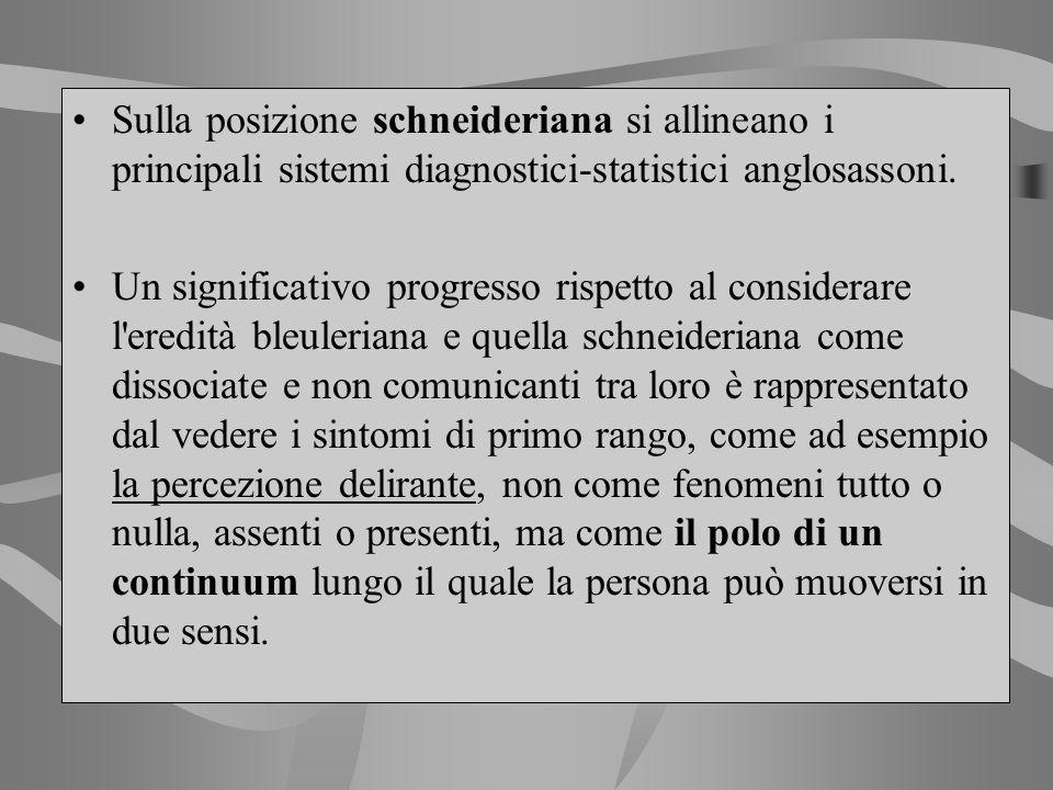 Sulla posizione schneideriana si allineano i principali sistemi diagnostici-statistici anglosassoni.