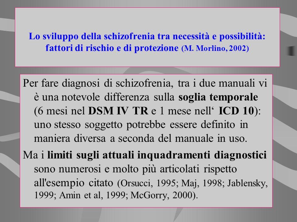 Lo sviluppo della schizofrenia tra necessità e possibilità: fattori di rischio e di protezione (M. Morlino, 2002)