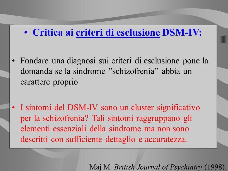 Critica ai criteri di esclusione DSM-IV: