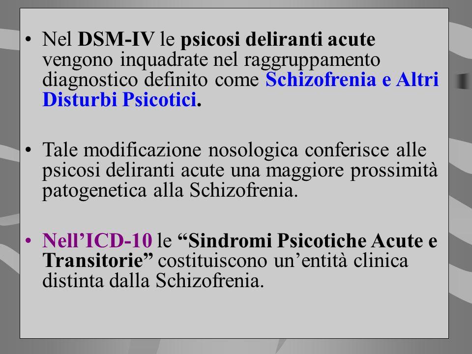Nel DSM-IV le psicosi deliranti acute vengono inquadrate nel raggruppamento diagnostico definito come Schizofrenia e Altri Disturbi Psicotici.