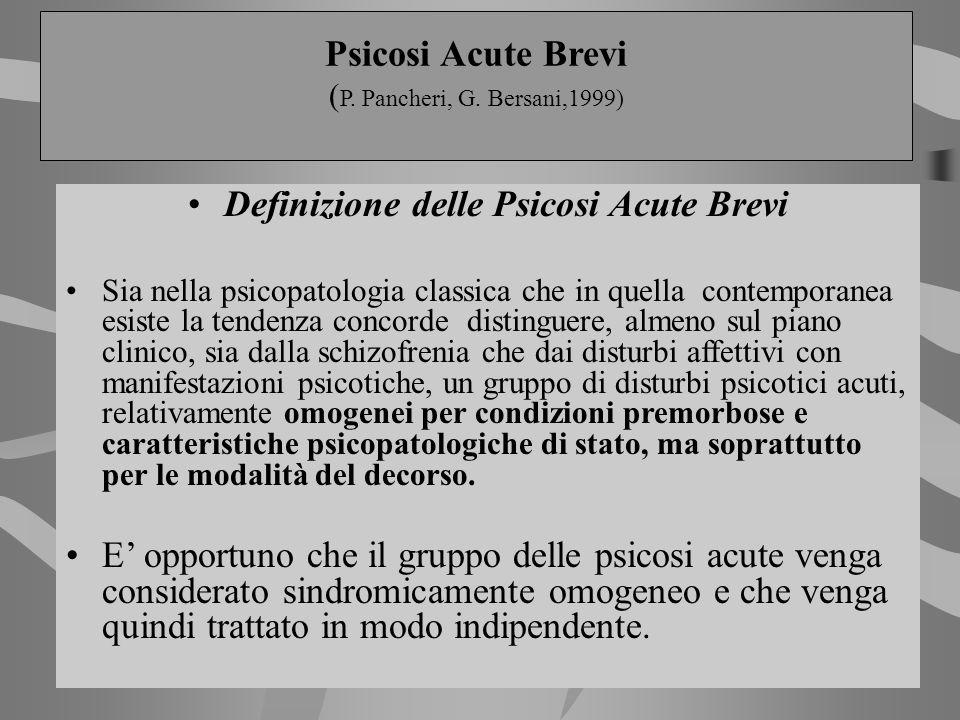 Definizione delle Psicosi Acute Brevi