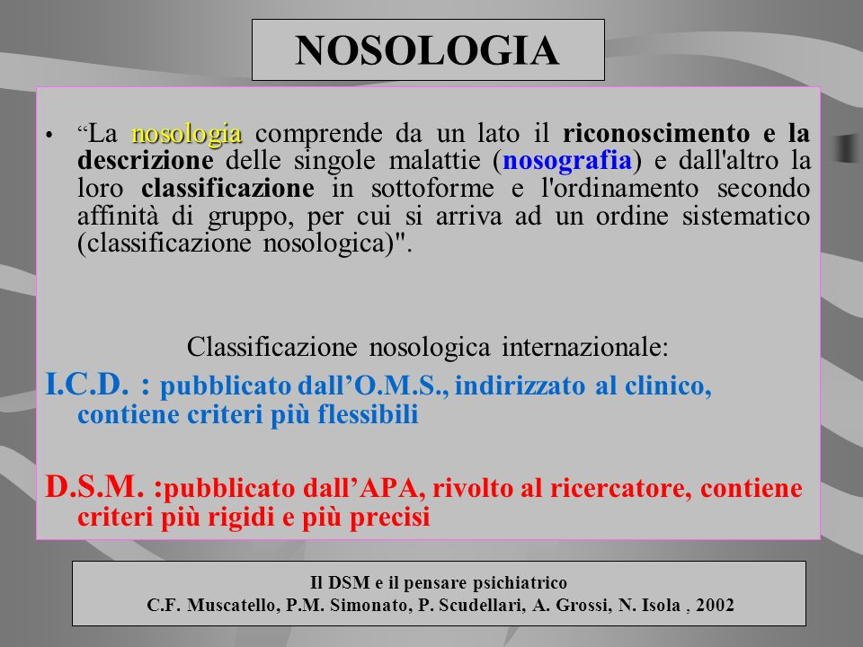 Classificazione nosologica internazionale: