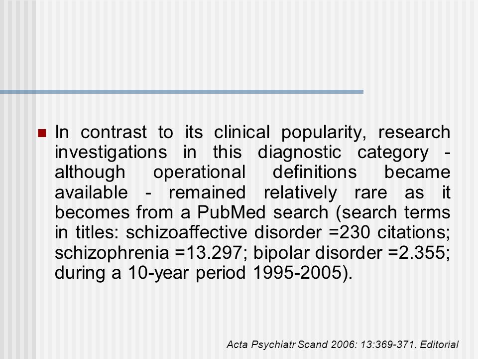 In contrast to its clinical popularity, research investigations in this diagnostic category -although operational definitions became available - remained relatively rare as it becomes from a PubMed search (search terms in titles: schizoaffective disorder =230 citations; schizophrenia =13.297; bipolar disorder =2.355; during a 10-year period 1995-2005).