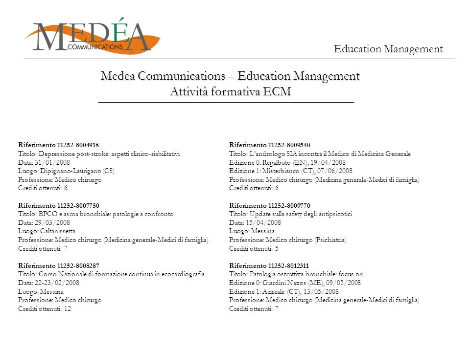 Medea Communications – Education Management Attività formativa ECM