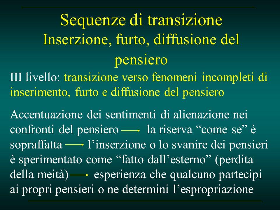 Sequenze di transizione Inserzione, furto, diffusione del pensiero