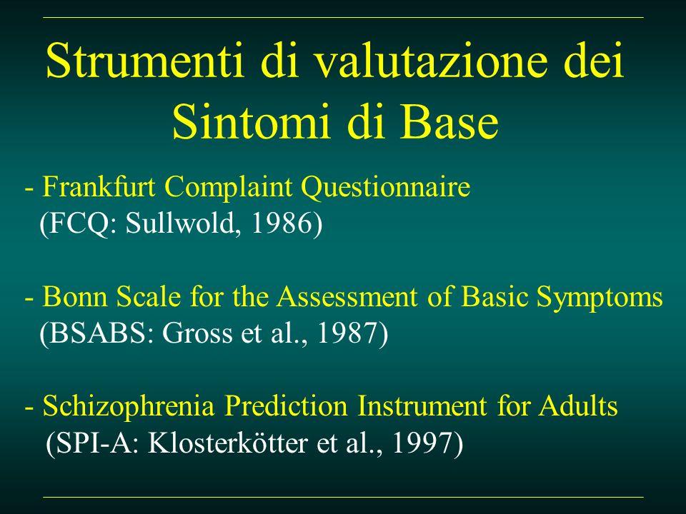 Strumenti di valutazione dei Sintomi di Base