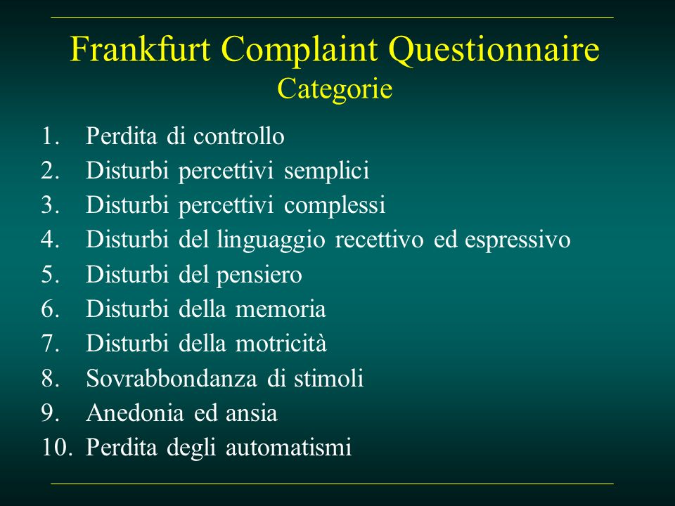 Frankfurt Complaint Questionnaire Categorie