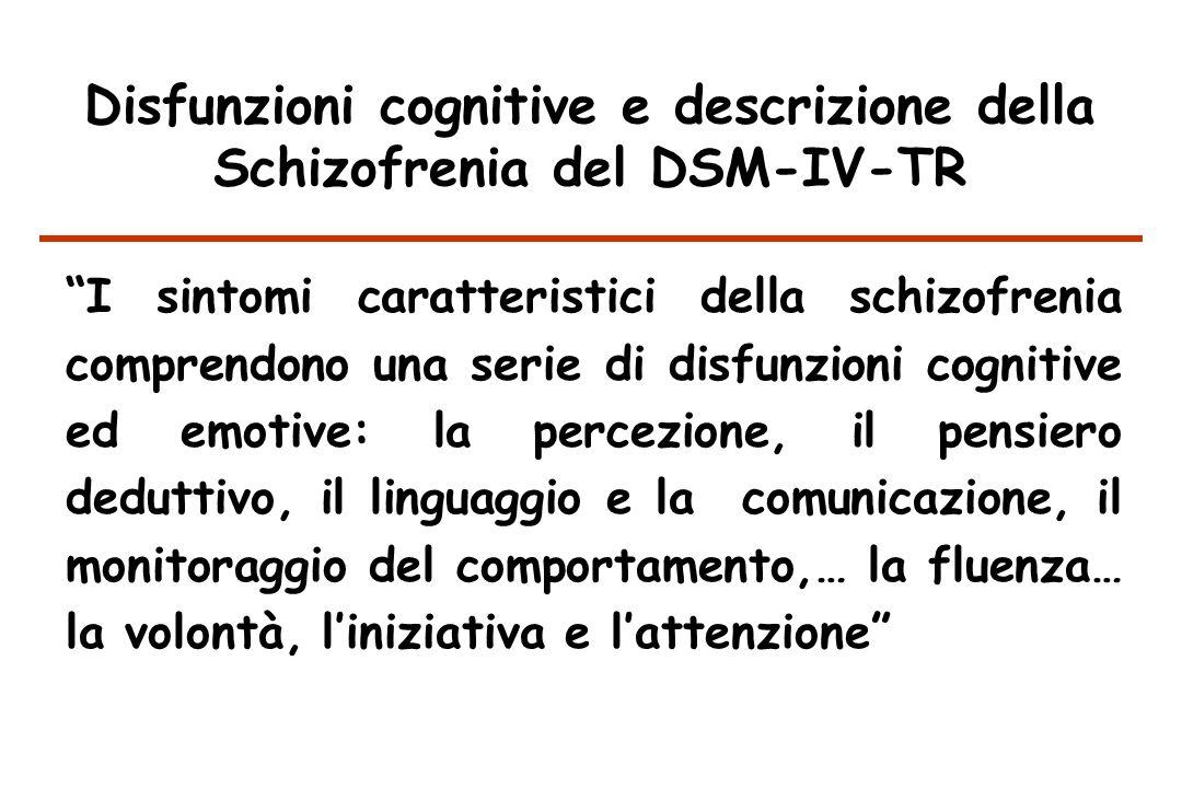 Disfunzioni cognitive e descrizione della Schizofrenia del DSM-IV-TR