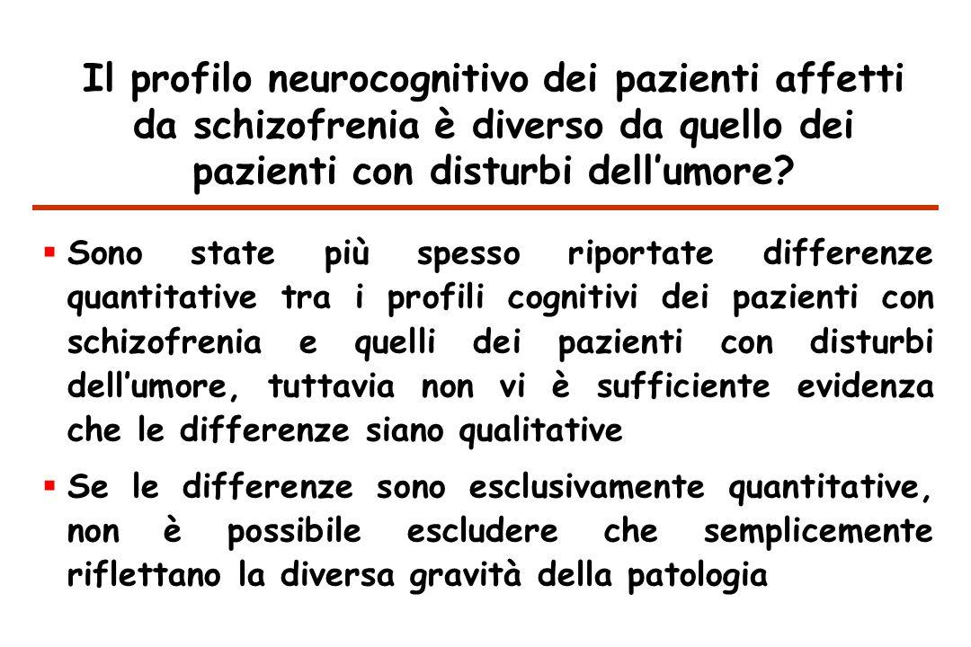 Il profilo neurocognitivo dei pazienti affetti da schizofrenia è diverso da quello dei pazienti con disturbi dell'umore