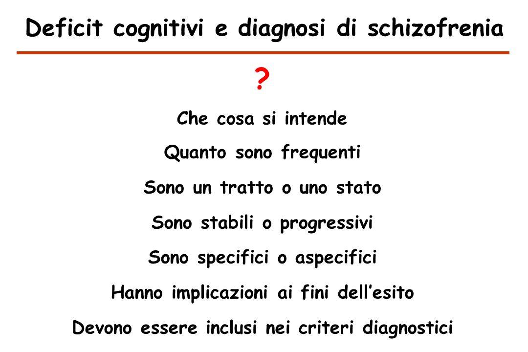 Deficit cognitivi e diagnosi di schizofrenia Che cosa si intende