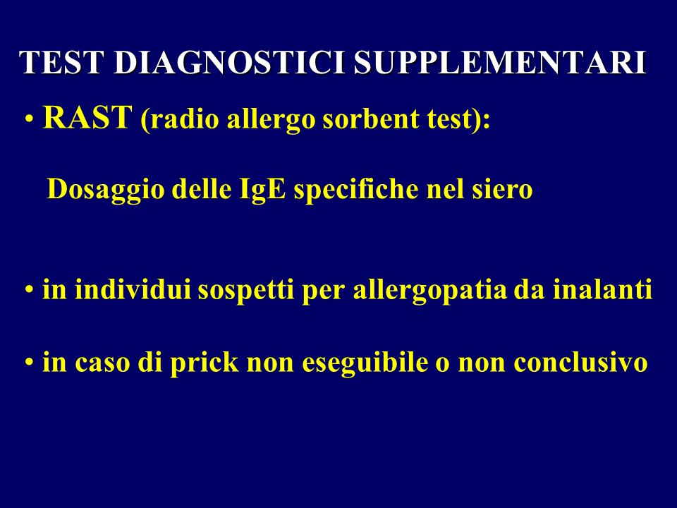 TEST DIAGNOSTICI SUPPLEMENTARI