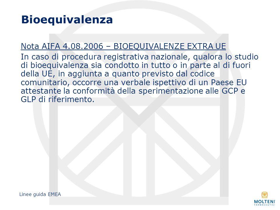 Bioequivalenza Nota AIFA 4.08.2006 – BIOEQUIVALENZE EXTRA UE