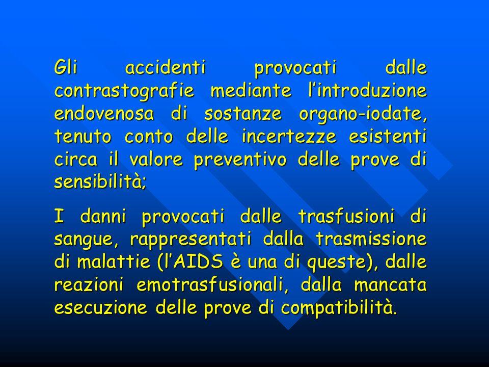 Gli accidenti provocati dalle contrastografie mediante l'introduzione endovenosa di sostanze organo-iodate, tenuto conto delle incertezze esistenti circa il valore preventivo delle prove di sensibilità;