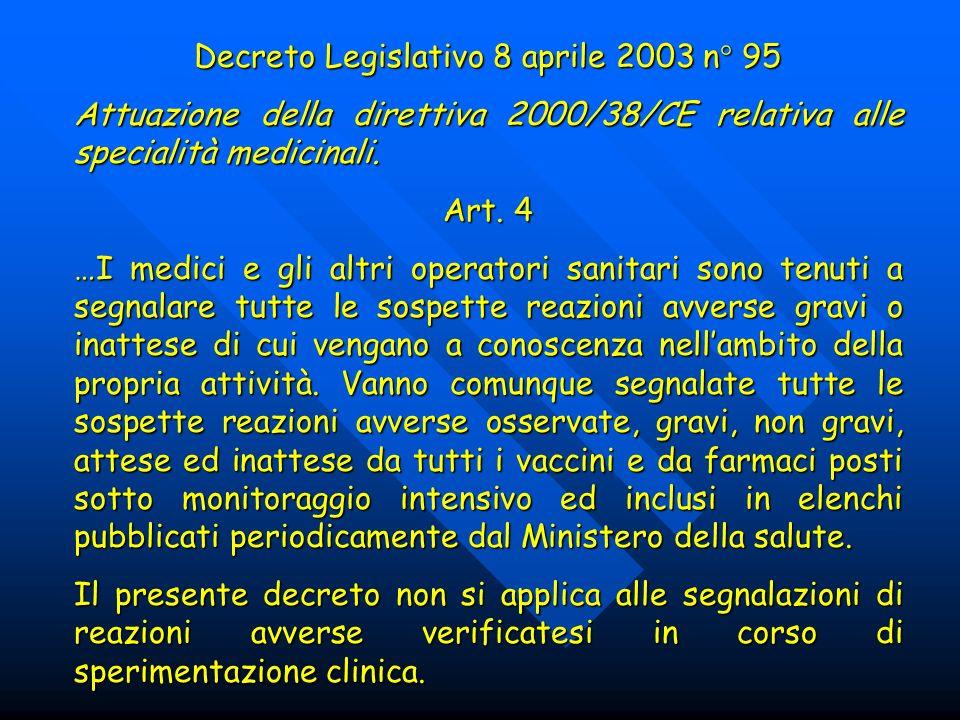 Decreto Legislativo 8 aprile 2003 n° 95