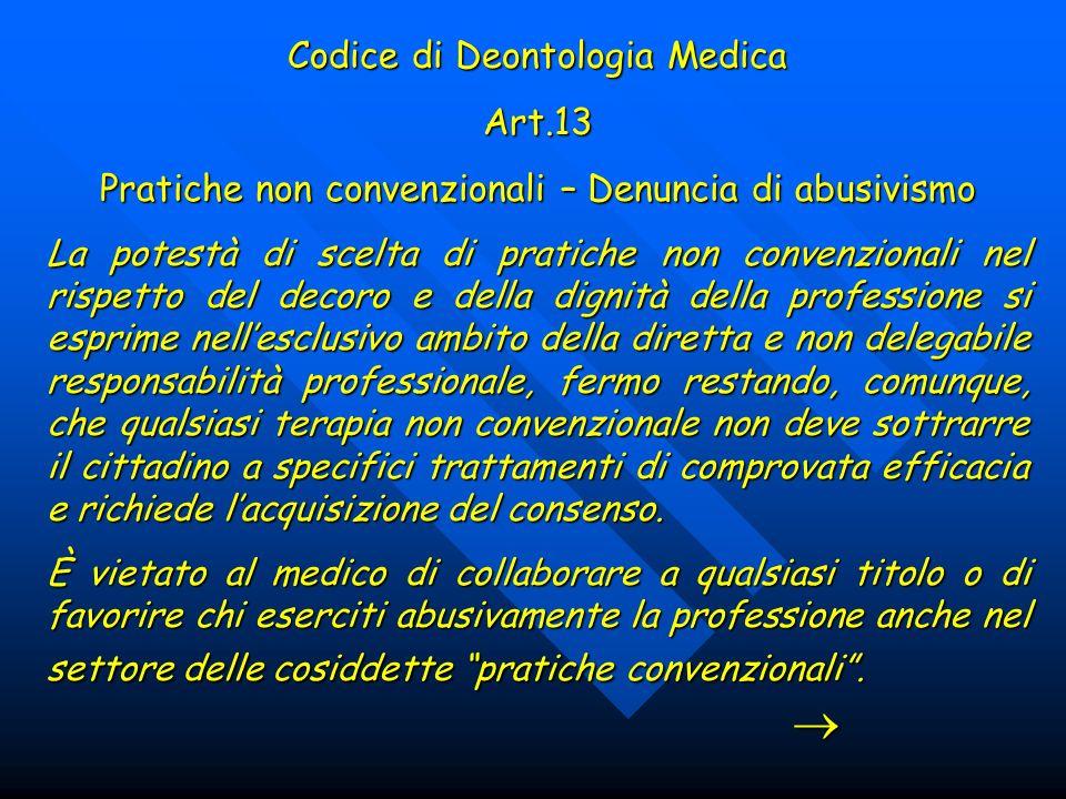 Codice di Deontologia Medica Art.13
