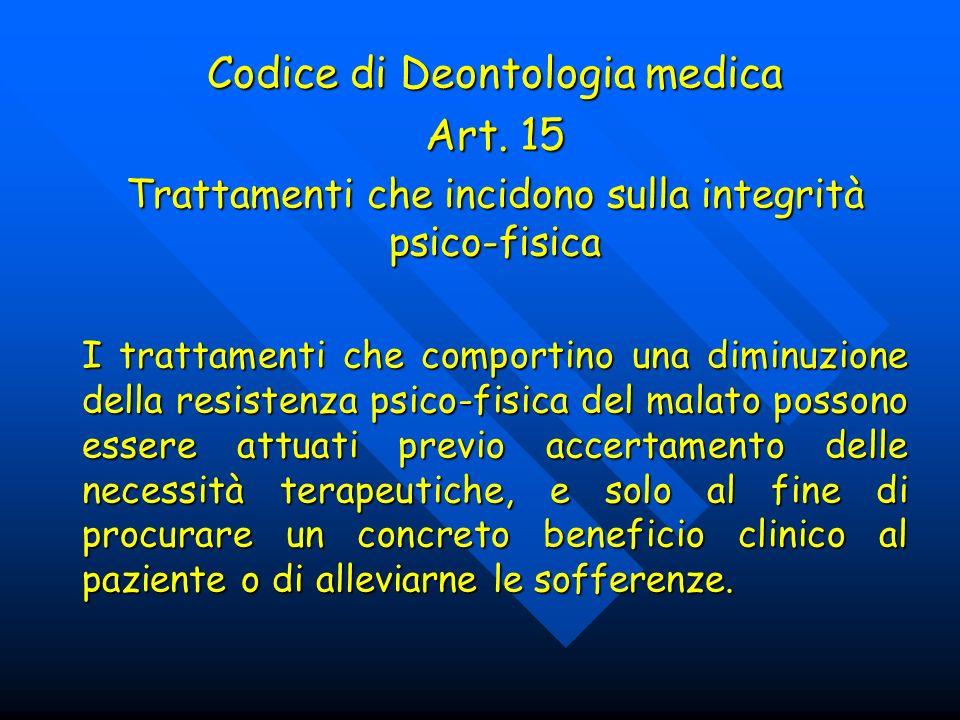 Codice di Deontologia medica Art. 15