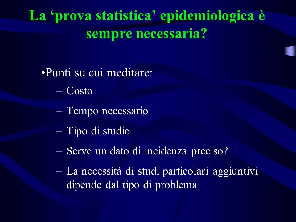 La 'prova statistica' epidemiologica è sempre necessaria