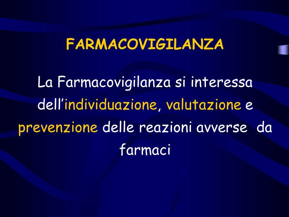 FARMACOVIGILANZA La Farmacovigilanza si interessa dell'individuazione, valutazione e prevenzione delle reazioni avverse da farmaci.