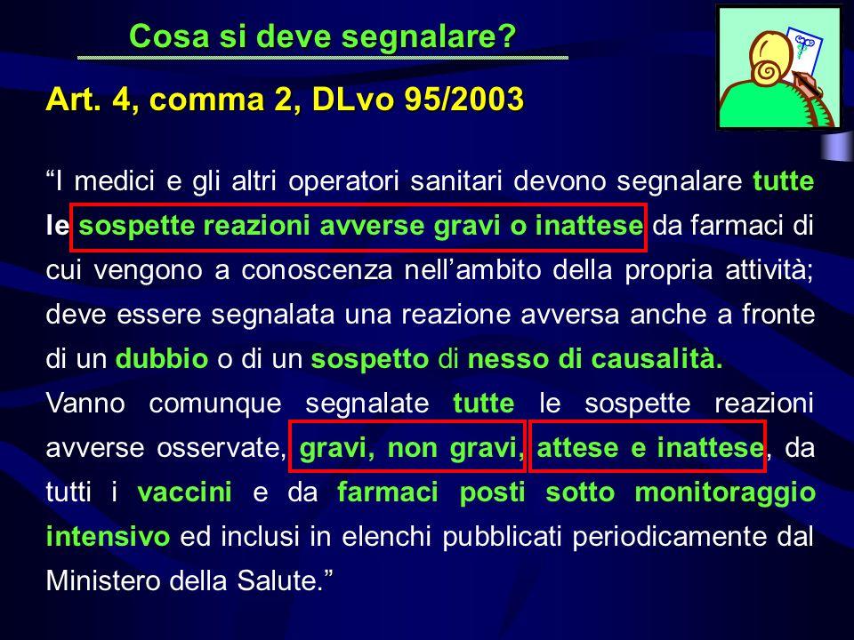 Cosa si deve segnalare Art. 4, comma 2, DLvo 95/2003