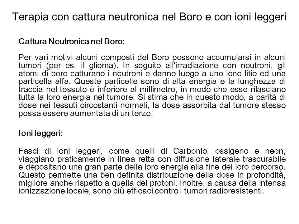 Terapia con cattura neutronica nel Boro e con ioni leggeri