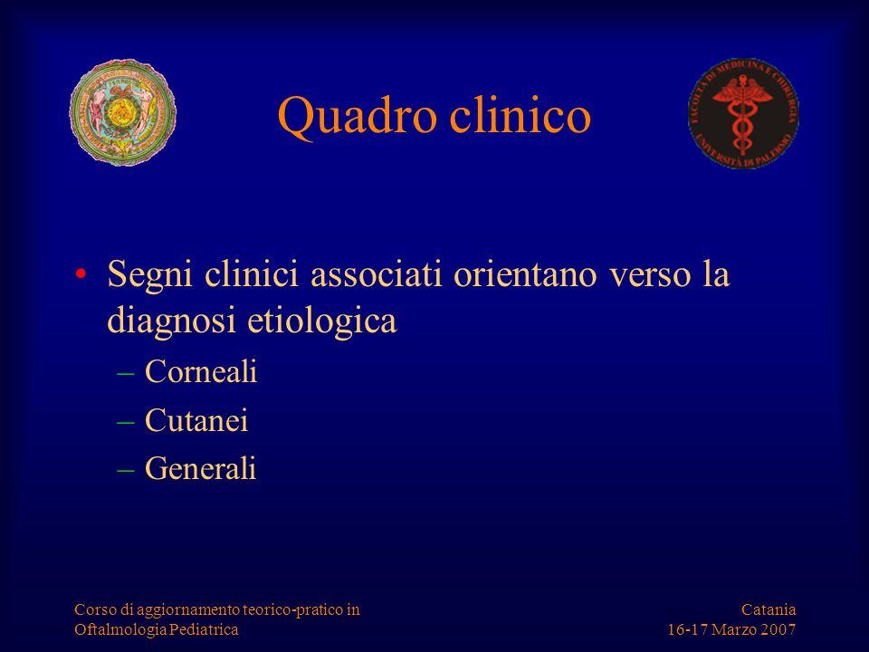 Quadro clinico Segni clinici associati orientano verso la diagnosi etiologica. Corneali. Cutanei.