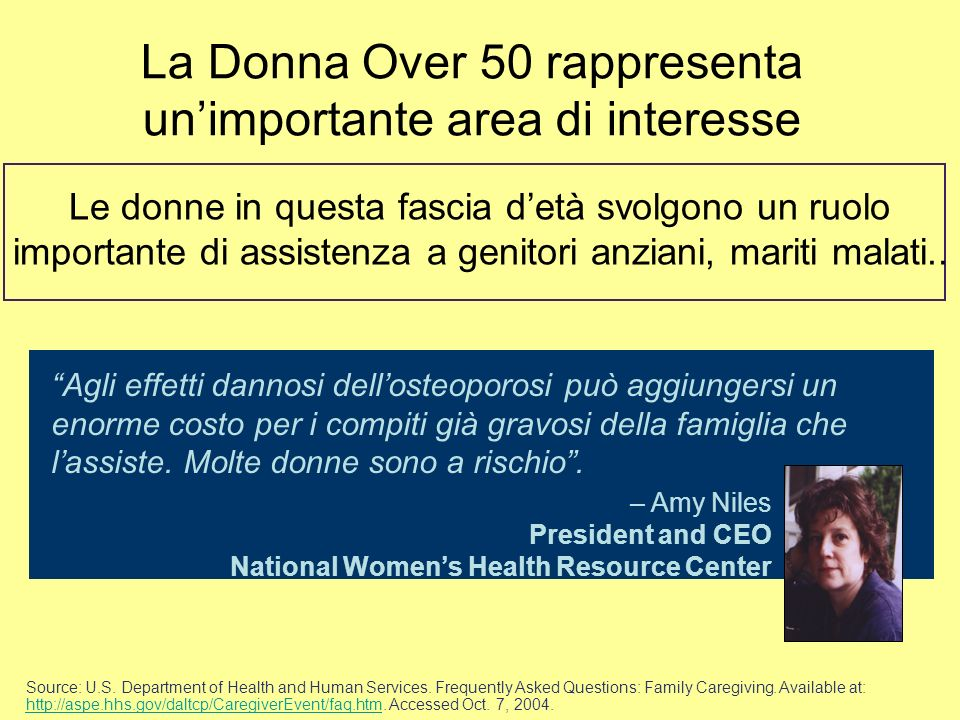 La Donna Over 50 rappresenta un'importante area di interesse