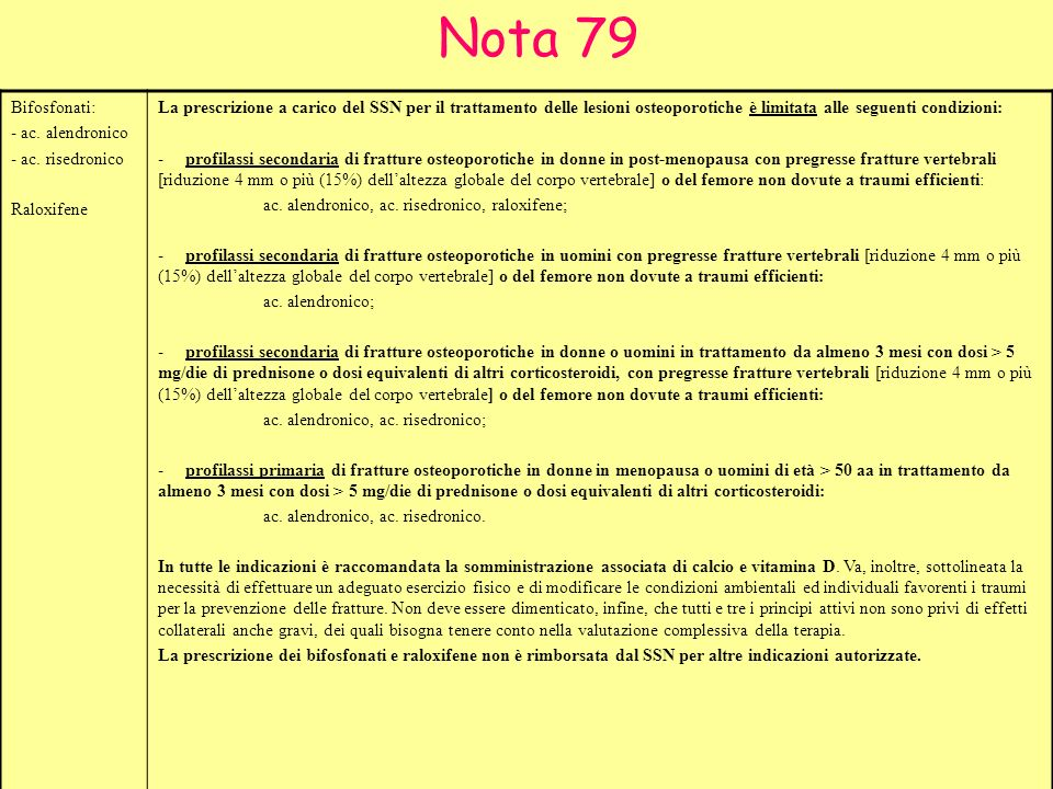 Nota 79 Bifosfonati: - ac. alendronico - ac. risedronico Raloxifene