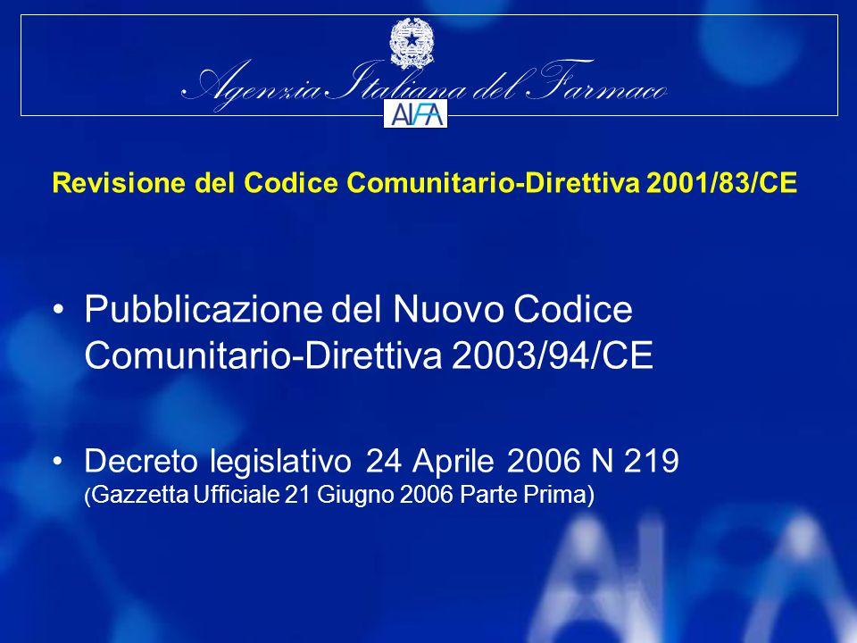 Revisione del Codice Comunitario-Direttiva 2001/83/CE