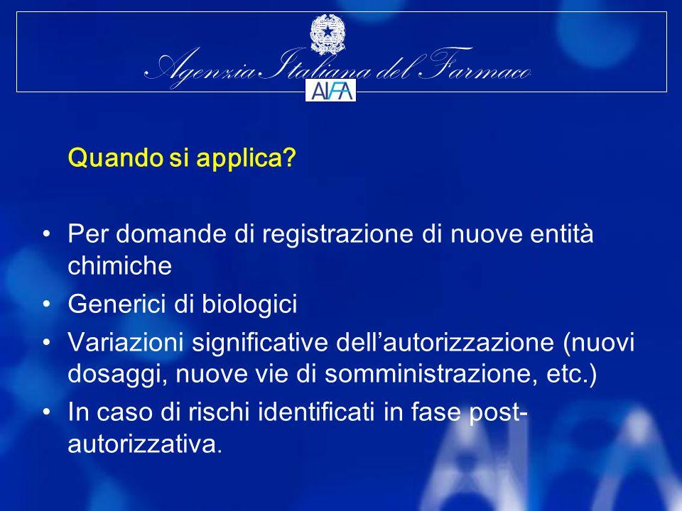 Per domande di registrazione di nuove entità chimiche