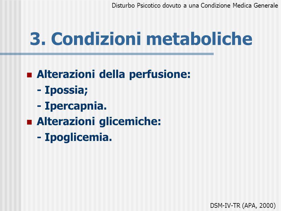 3. Condizioni metaboliche