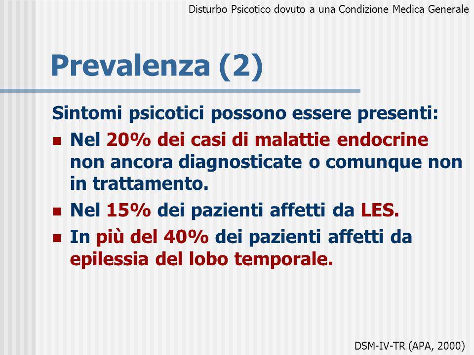 Prevalenza (2) Sintomi psicotici possono essere presenti: