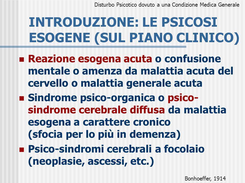 INTRODUZIONE: LE PSICOSI ESOGENE (SUL PIANO CLINICO)